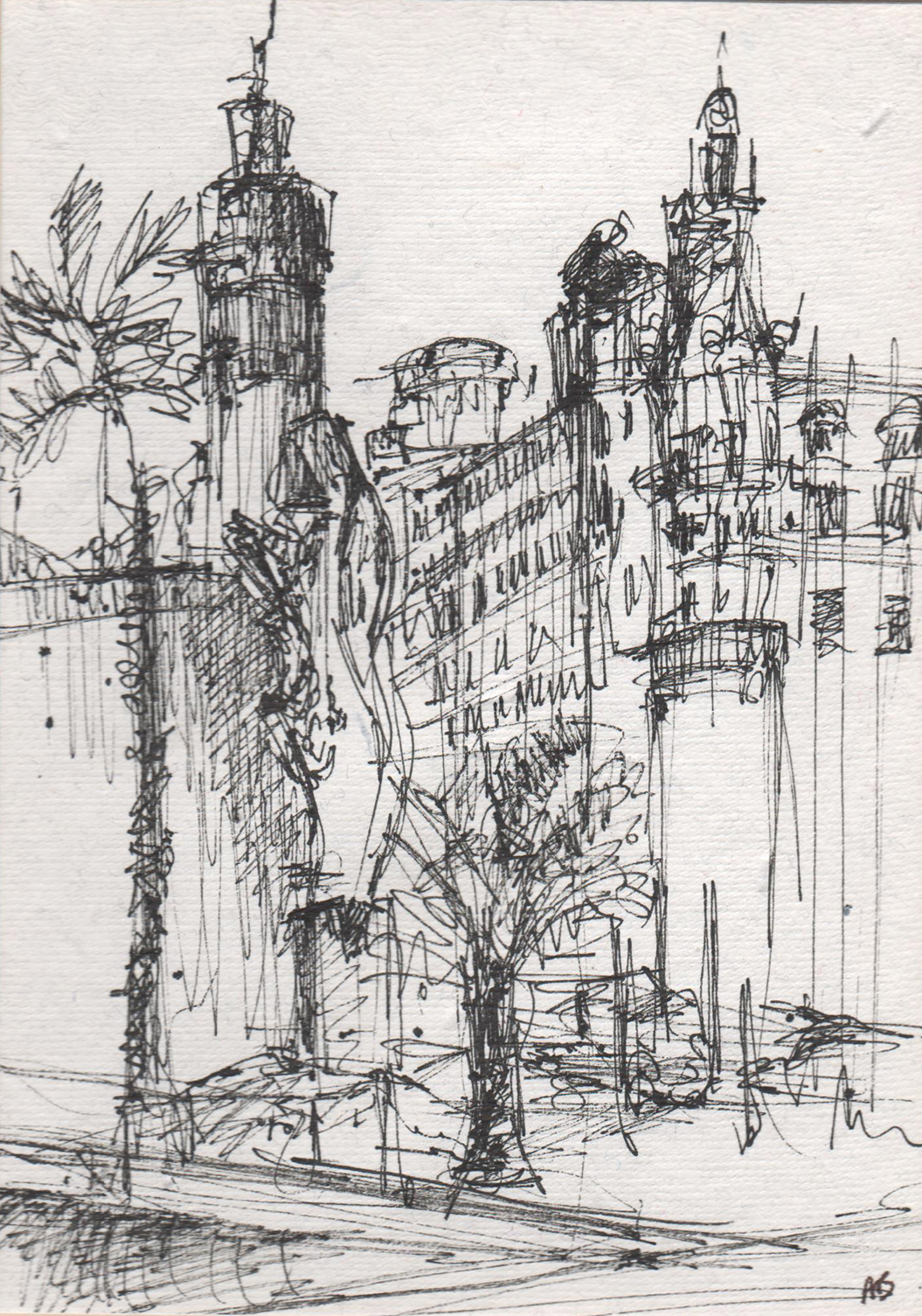 Croquis architecture maison moderne for Barcelone architecture contemporaine