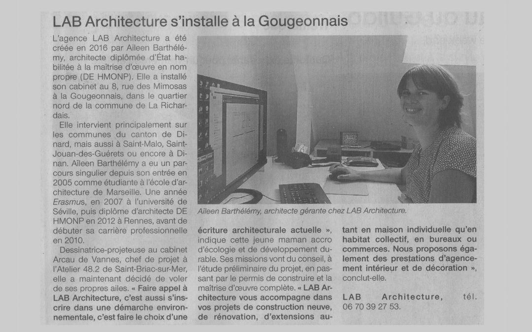Le cabinet d'architecture «Lab architecture» dans Ouest France le 21/09/2016