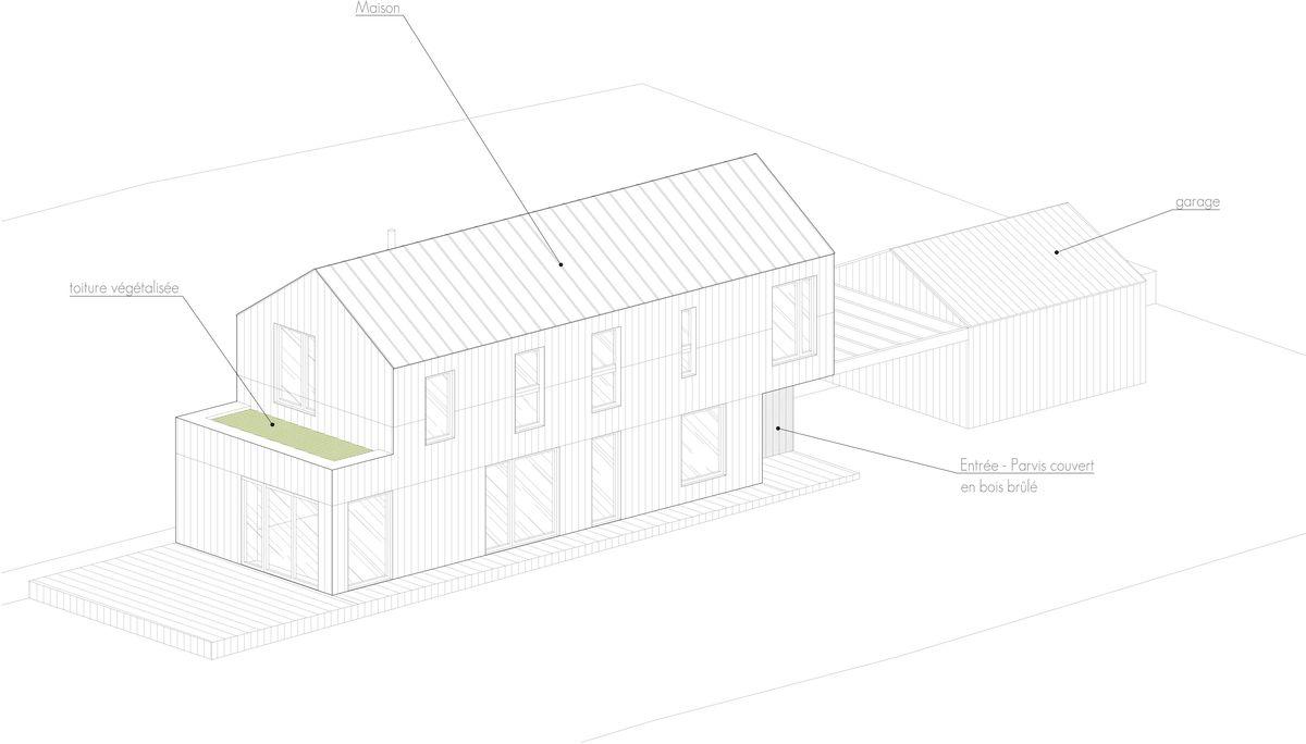 Perspective maison bois paille
