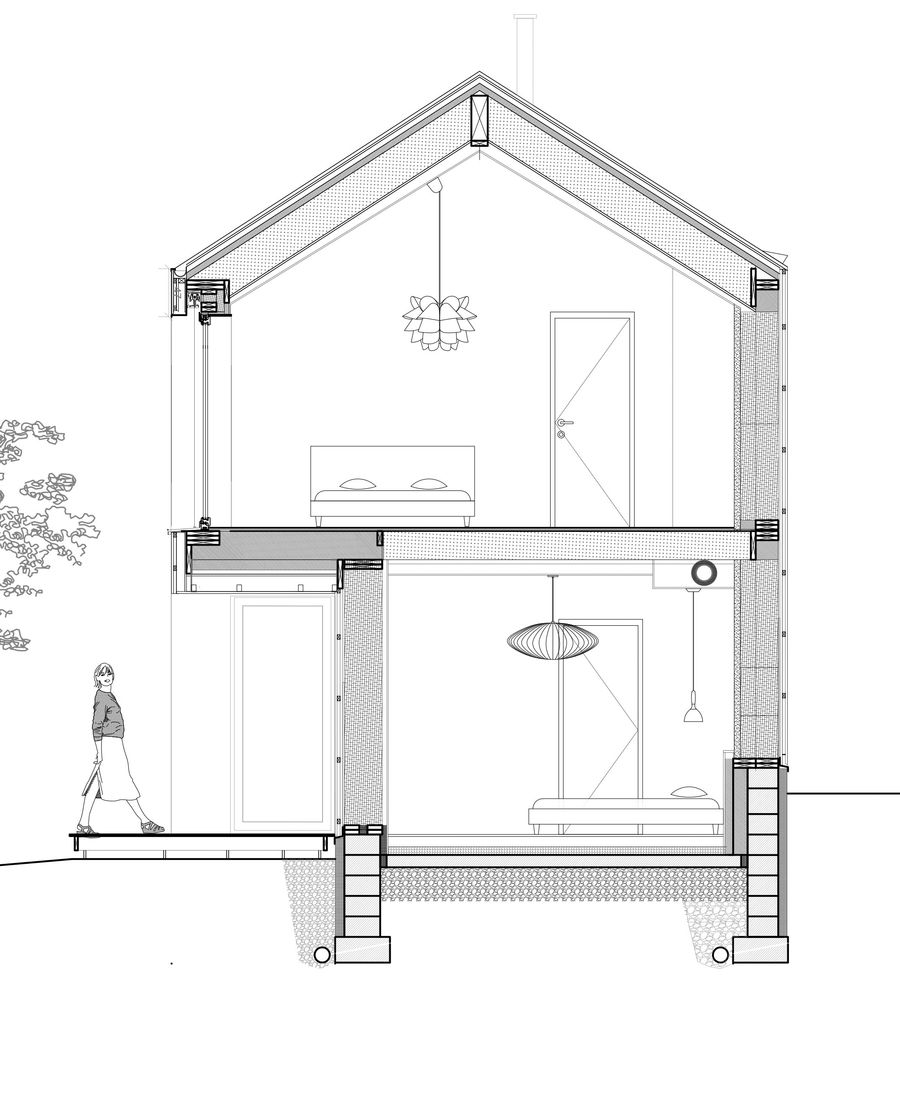 Coupe maison passive bois paille