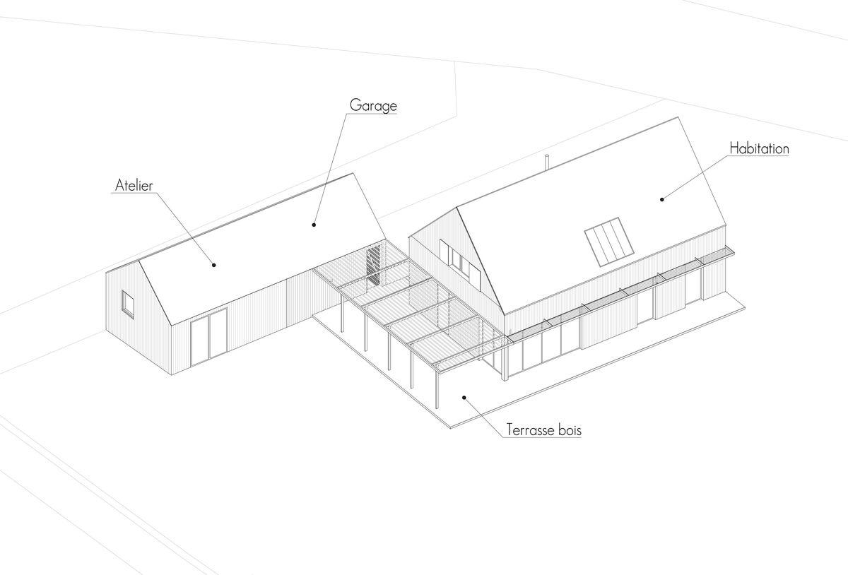 Perspective d'une maison bois bioclimatique