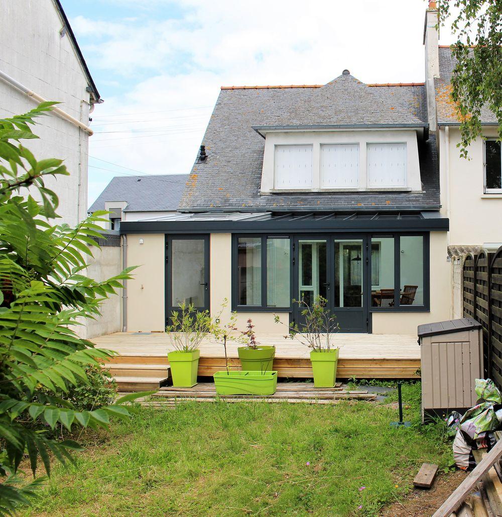 Extension de maison à Saint-Malo avec terrasse en bois